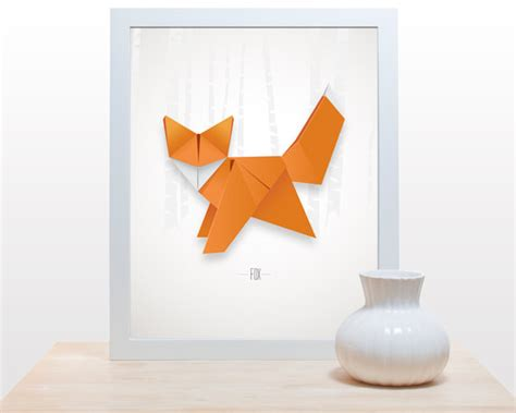Origami Poster - origami fox print poster minimal modern decor wall paper