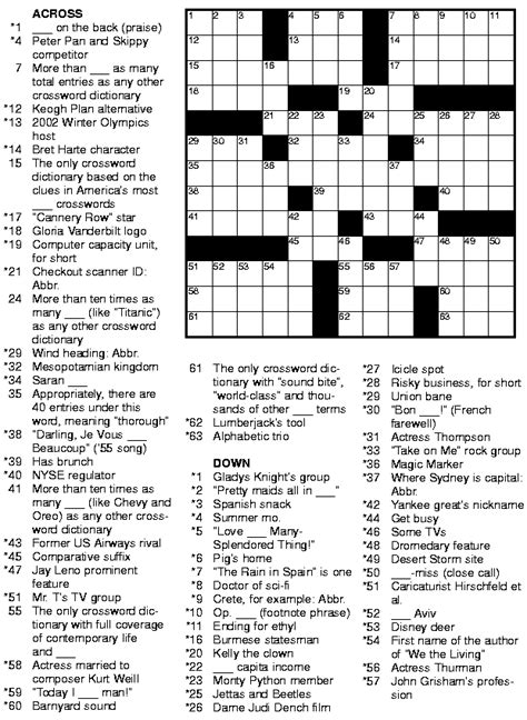 Free Daily Printable Crossword Puzzles 7 best images of printable challenging puzzle printable