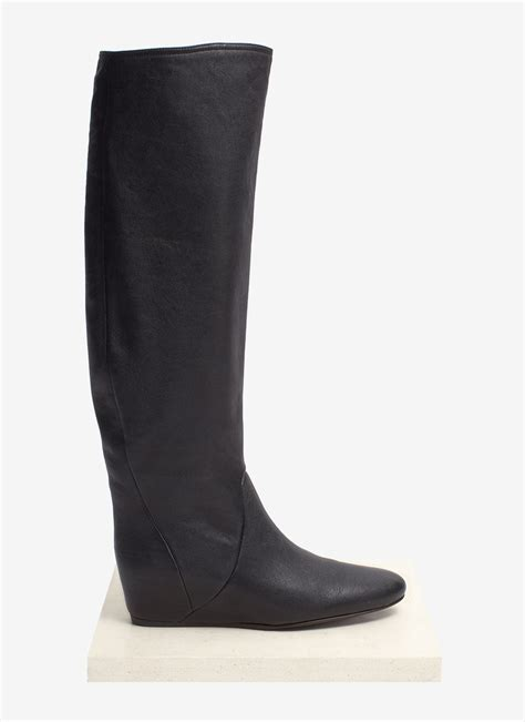 lanvin concealed wedge leather boots in black lyst