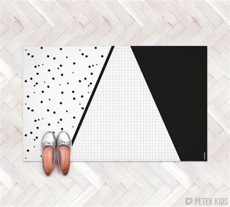 Geometric Kitchen Rug Black And White Geometric Rug Kitchen Rug By Petekdesign