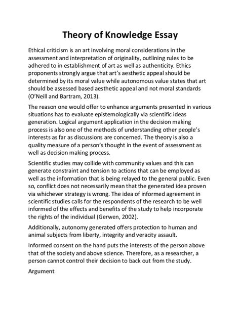 Theoretical Analysis Essay Exle by Theory Of Knowledge Essay