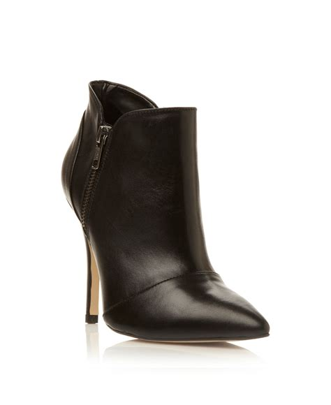 dune nami zip shoe boots in black black leather lyst