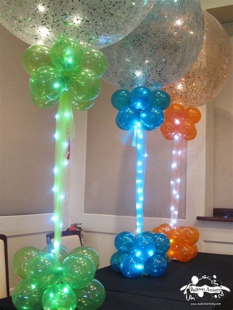 Sparkle balloons with rice lights lighted balloon column balloon column balloon decor