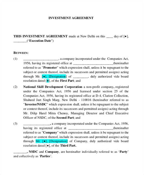 12 Investment Contract Templates Google Docs Word Download Free Premium Templates Property Investment Contract Template