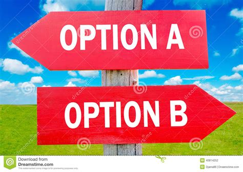a b option a and b stock photo image of choose direction