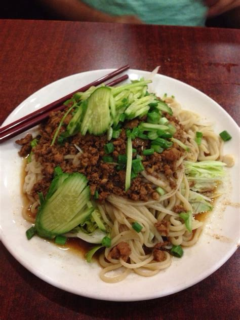 china magic noodle house 22 hand pulled noodles with minced pork sliced cucumber