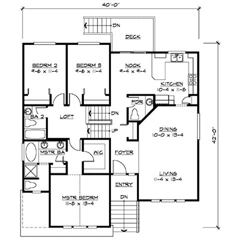split floor plan split level home plan for narrow lot 23444jd 1st floor