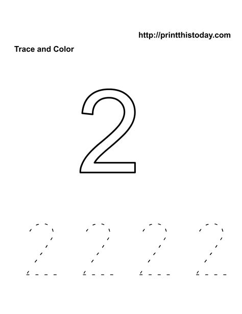 Number 2 Coloring Pages For Preschoolers by Free Kindergarten Math Worksheets Number Two 2