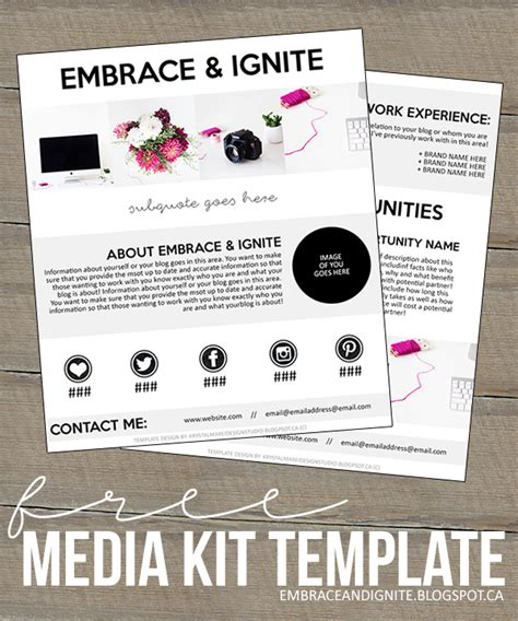 embrace and ignite freebie friday media kit template
