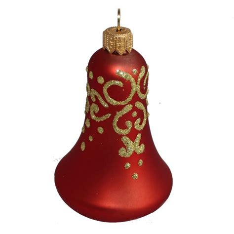 glass christmas ornaments christmas bell veil red