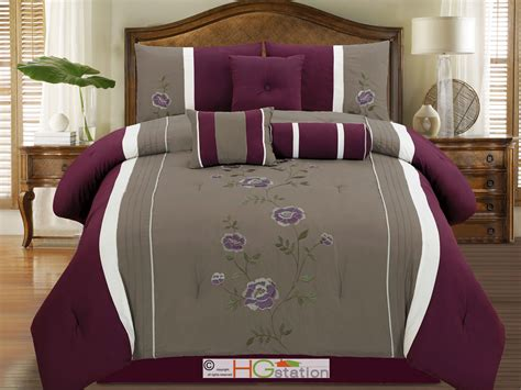 Purple Gray Floral Comforter Set 7p Embroidery Pleated Floral Comforter Set Plum Purple Lavender Gray White Ebay