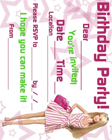 printable birthday invitations barbie barbie coloring pages