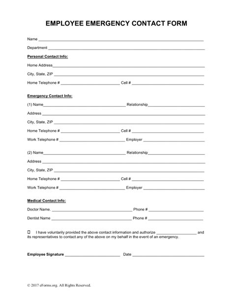Month To Month Rental Agreement Template free employee emergency contact form pdf word eforms
