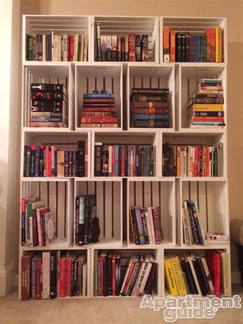 diy bookshelf storage made simple diy wooden crate bookshelf apartmentguide