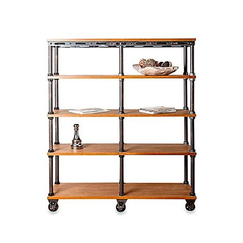 bed bath and beyond bookcase abbyson living 174 kingsley industrial entertainment bookcase