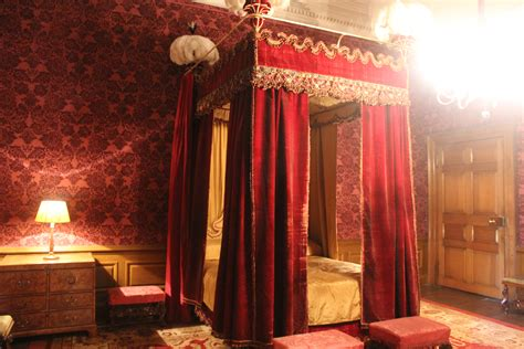 Four Poster Bed Drapes | dunham massey red velvet drapes four poster bed they