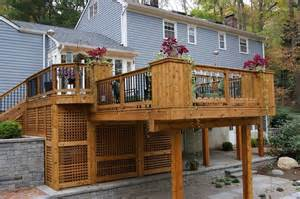 cedar deck with built in planters the yard