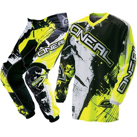 white motocross gear oneal mx 2017 element shocker black neon yellow dirt