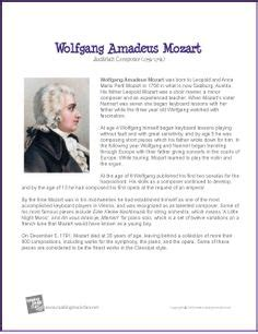 Mozart Biography For Students   1000 images about school composer fun on pinterest