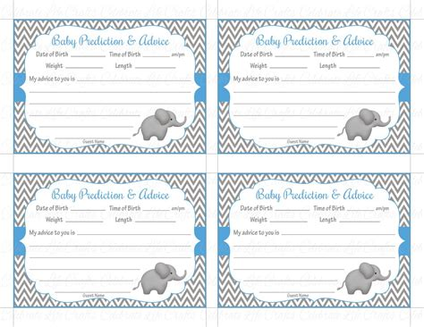 baby shower advice cards free template baby shower prediction and advice cards printable baby