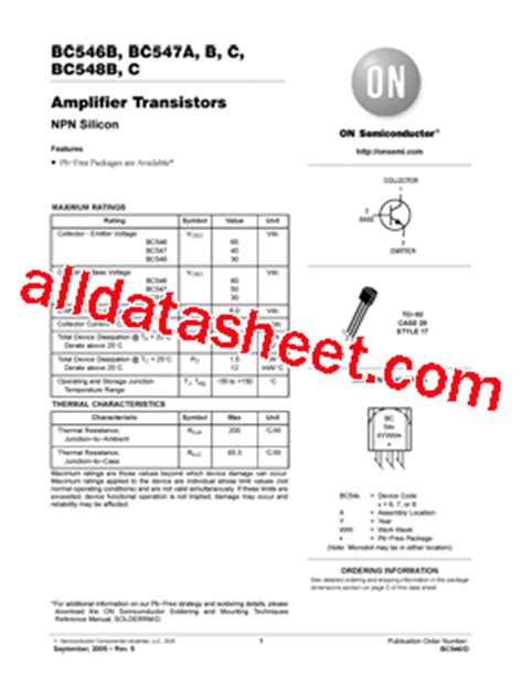 transistor bc547bg bc547bg datasheet pdf on semiconductor