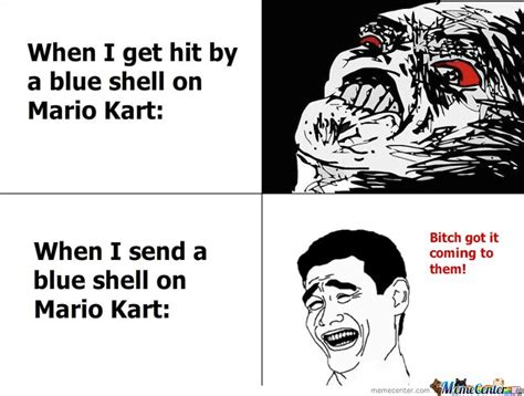 Mario Kart Blue Shell Meme - when i get hit by a blue shell on mario kart by mustapan