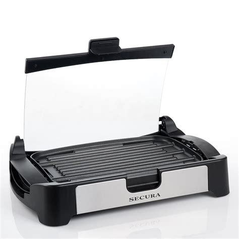 Secura 1700W Electric Reversible Grill Griddle with Glass Lid   The Secura