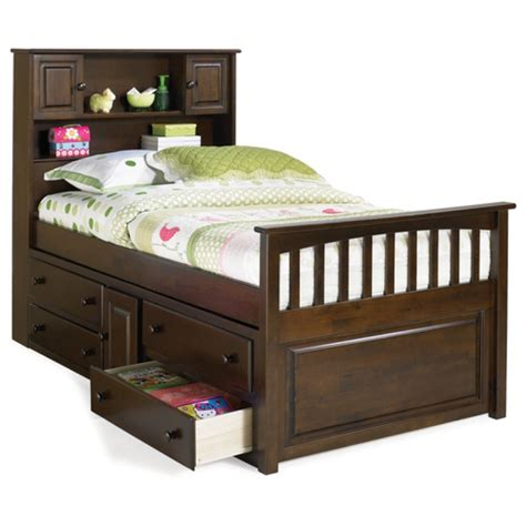 captain beds twin storage bed brahn cecs twin captains bed with bookcase