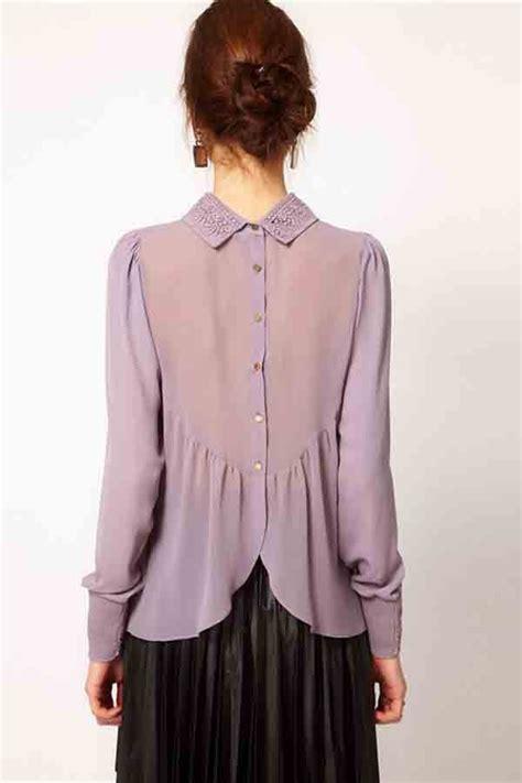 light purple crochet lapel long sleeve buttons