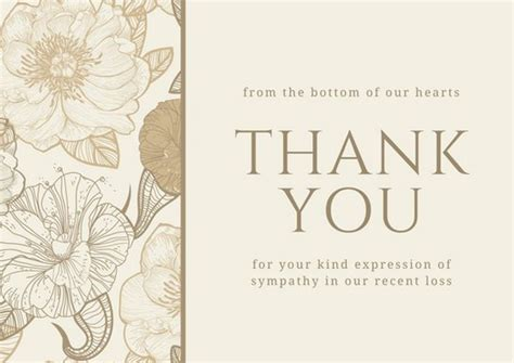 template funeral thank you cards brown floral sympathy thank you card templates by canva
