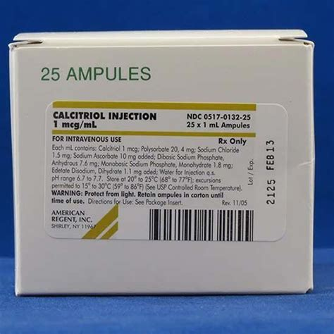 injection volume 1 injection calcitriol vitamin d injectable discontinued mcguff medical products