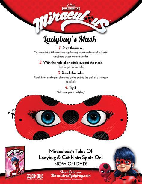printable ladybug mask free printable miraculous tales of ladybug cat noir