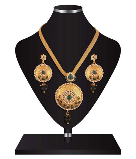 Ethnic Chain variation ethnic broad chain green bead pendant set buy