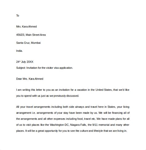 Invitation Letter For Visa In India Sle Invitation Letter For Visitor Visa Friend Usa Cover Letter Templates