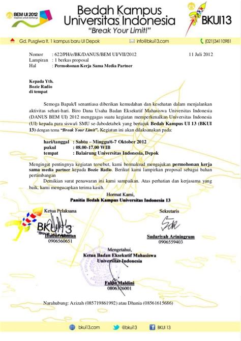 Surat Pengantar Sponsor by Surat Pengantar Kerjasama Sponsorship Contoh Surat