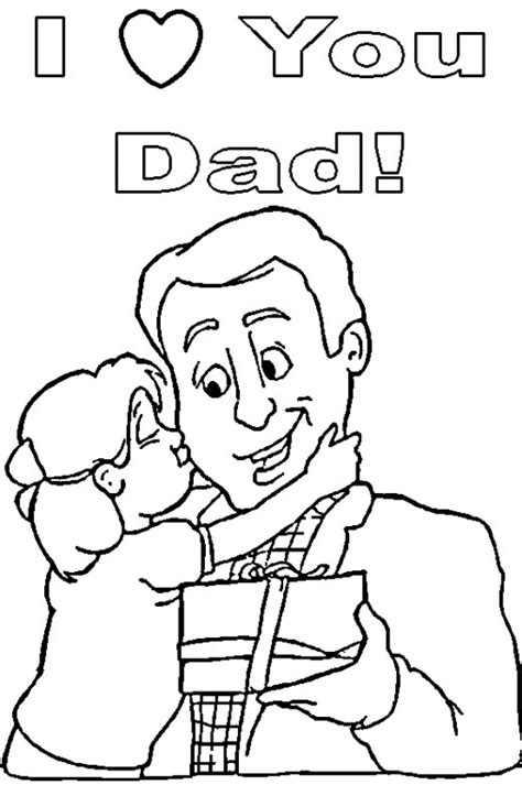 dad hugging daughter colouring pages