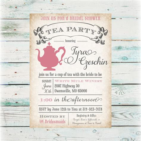 Bridal Shower Tea Party Invitations Party Invitations Templates Bridal Shower Tea Invitations Templates