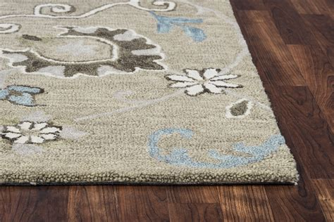 Leons Area Rugs Traditional Motifs Vines Wool Area Rug In Grey Ivory Brown 5 X 8