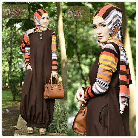 Gamis Muslim Shaby Dress shabby chic coklat baju muslim gamis modern