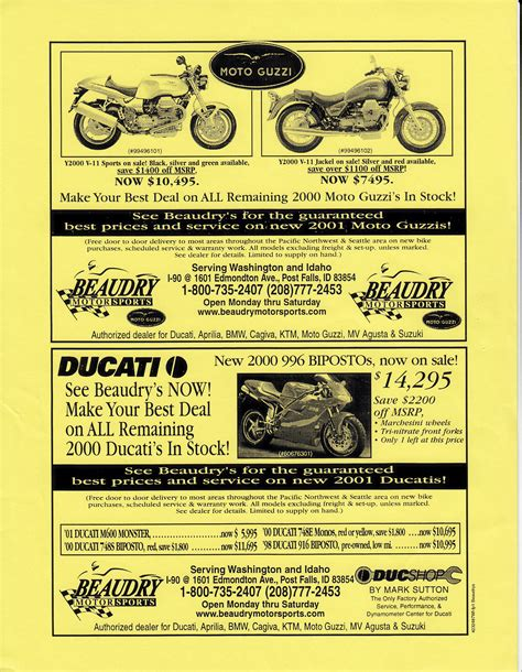 beaudry motors advertisement beaudry motorsports 2000 2001 more