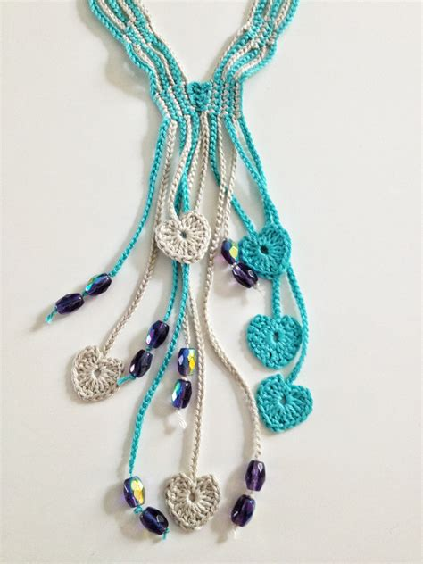 crochet necklace with blue hearts beaded crochet necklace