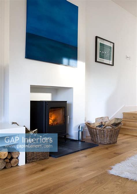 Living Rooms With Wood Burning Stoves Gap Interiors Wood Burning Stove In Modern Living Room Image No 0052407 Photo By Douglas Gibb