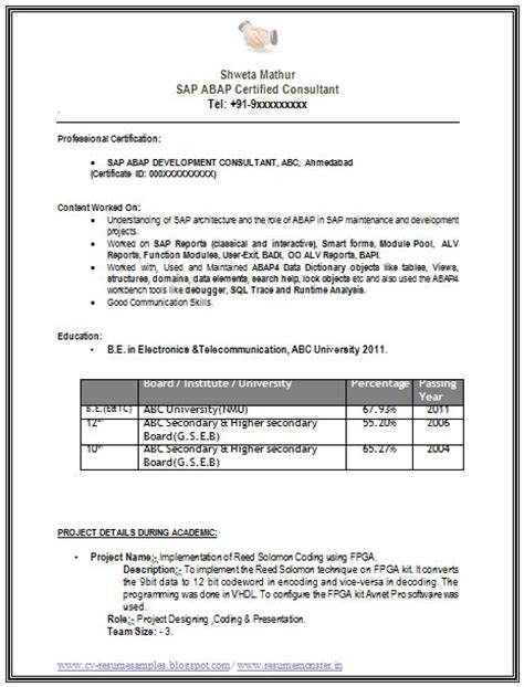 exle template of a sap consultant abap with great career objective and profile