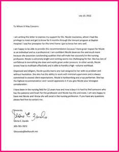 Letters Of Recommendation For Nurses by 12 Recommendation Letter Nursing School