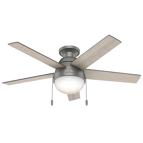 hunter flush mount ceiling fans shop hunter anslee 46 in matte silver indoor flush mount