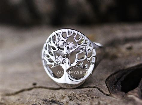 magic tree ring adjustable open ring silver plated jewelry
