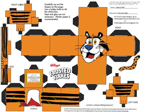 Tiger Papercraft - adv ch8 tony the tiger cubee by theflyingdachshund on