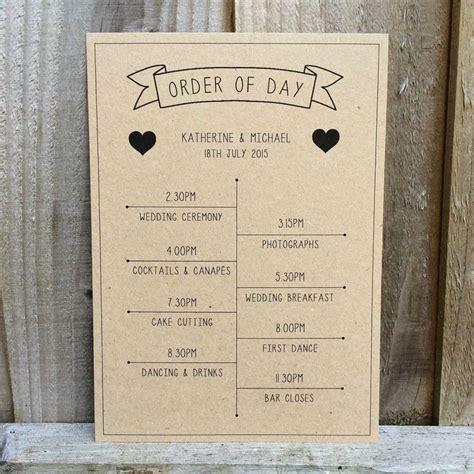 Wedding Ceremony Order Of Events Timeline by 1 X Vintage Banner Kraft Personalised Wedding Timeline