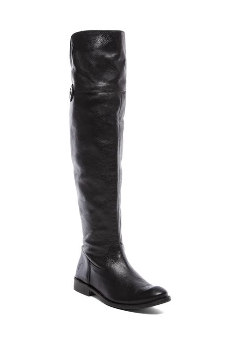 the knee boots flat frye shirley the knee flat boot in black lyst