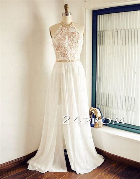 WHITE A LINE LACE BACKLESS LONG PROM DRESSES, EVENING